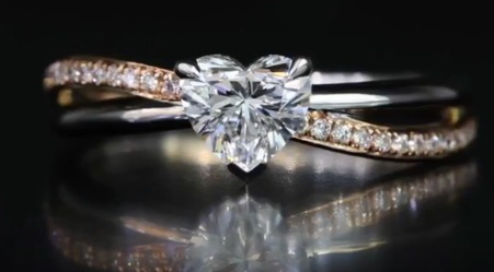 customised heart shaped diamond proposal ring